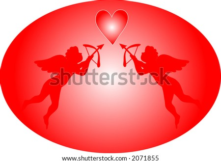Two cupids taking aim at a red heart. Illustration is in easily editable and scalable vector format. - stock vector
