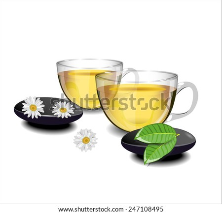 Two cups of green tea with chamomile flowers and leaves of tea in the foreground - stock vector