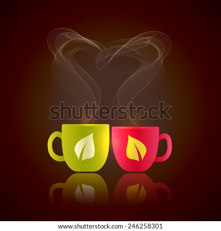 Two cups of tea stand together with fragrant steam in the form of heart for Valentine's Day - stock vector