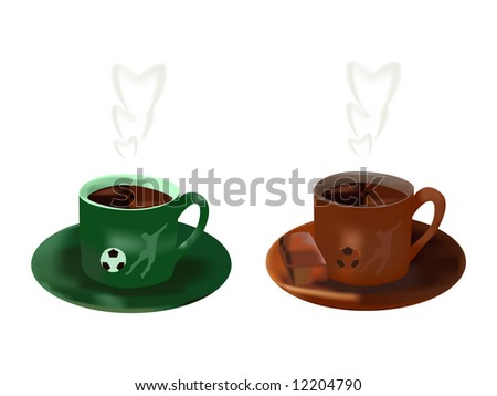 Two cups with hot chocolate. On cup image soccer player. Vector illustration