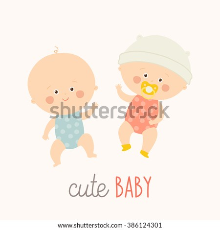 Two cute babies lying with baby pacifier. Toddler boy and girl laying and smiling. Cartoon vector hand drawn eps 10 illustration isolated on white background.