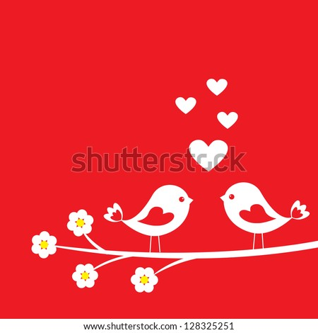 Two cute birds. Card for Valentine day - stock vector