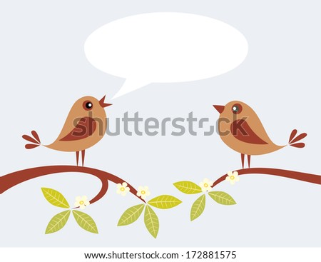 Two cute birds speaking on spring branch. - stock vector