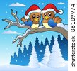 Two cute birds with Christmas hats - vector illustration. - stock vector