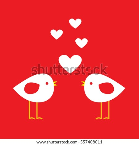 Two cute birds with hearts  - card for Valentine day. Vector illustration
