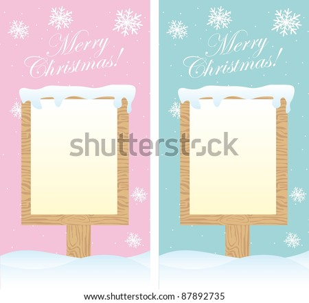 two cute blank signs christmas over snow. vector - stock vector