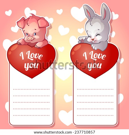 two cute card valentines day bunny stock vector 237710857, Ideas