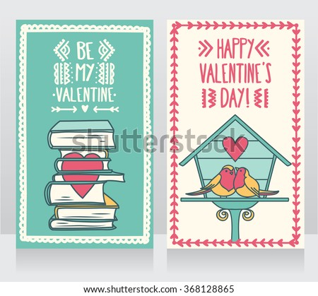 Two cute cards for valentines day, lovely birds couple and books with heart, vector illustration - stock vector