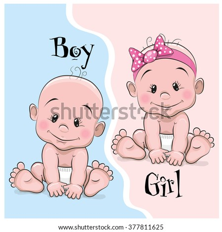 Two Cute Cartoon babies boy and girl - stock vector