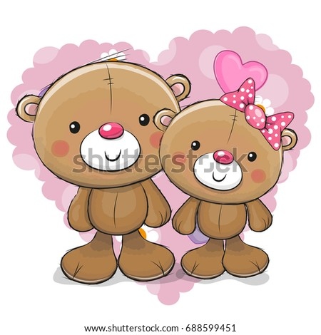 Two cute cartoon bears on background stock vector 688599451 two cute cartoon bears on a background of heart voltagebd Image collections