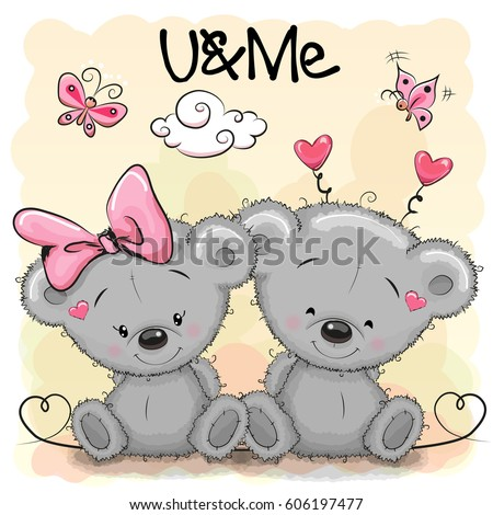two cute cartoon bears on orange stock vector 606197477 shutterstock rh shutterstock com images of cute cartoon polar bears Cute Cartoon Baby Bears