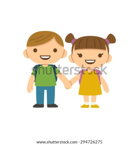 Two cute cartoon children with school backpacks smiling and holding hands. Older boy and small girl in dress with pigtails. - stock vector