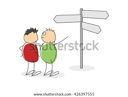 Two cute cartoon figures with circular colored bodies and heads standing looking at a signpost with multiple blank arrows pointing in different directions - stock vector