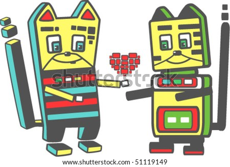 Two cute cat robots in love - stock vector