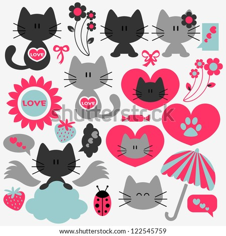 Two cute cats in love set of elements - stock vector