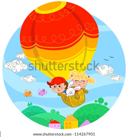 Two cute children and a white bunny flying with hot air balloon. - stock vector
