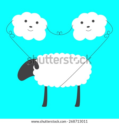 Two cute clouds with eyes, noses and smiles holding big sheep on rope in blue sky. With space for your text on sheep`s body - stock vector