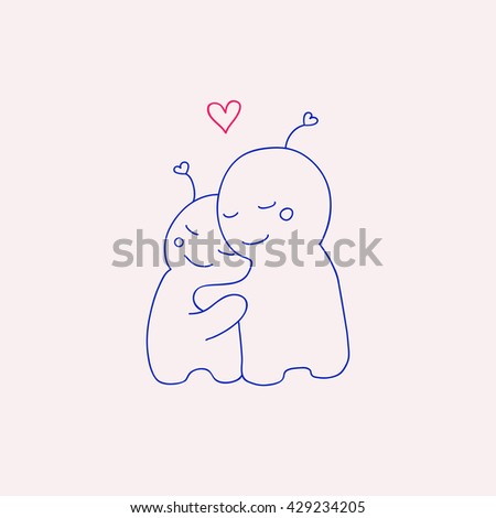 two cute creatures cuddling. vector illustration.