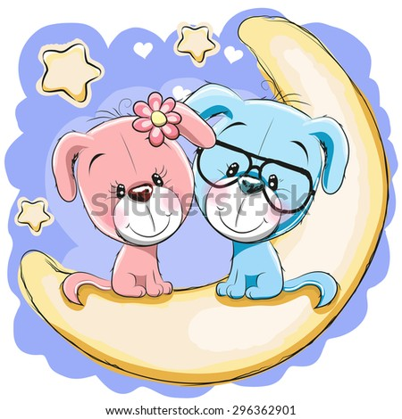 Two Cute Dogs is sitting on the moon - stock vector