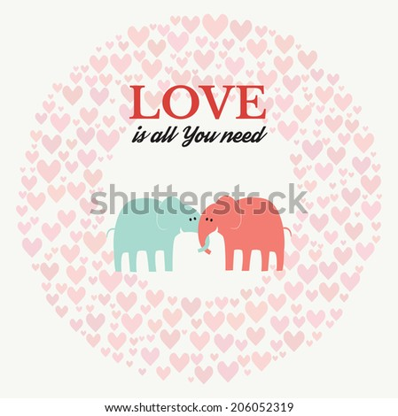 Two cute elephants in love. Love retro poster. Love is all you need - vector background - stock vector
