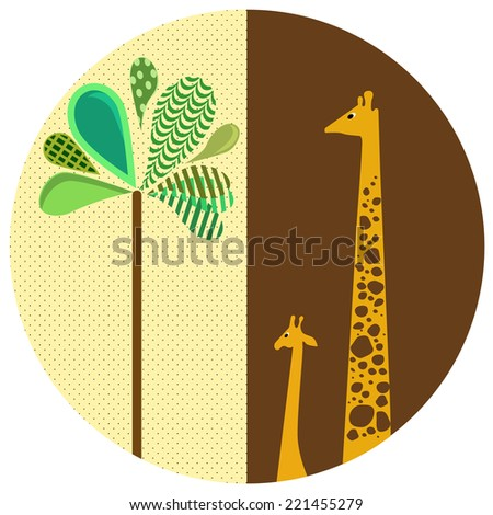 Two cute giraffe. Greeting card. Series of family pictures. Vector illustration.
