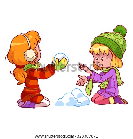 Two cute girls playing with snow - stock vector