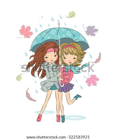 Two cute girls with umbrella, autumn and rain all around, but they are not sad. Colorful vector illustration. - stock vector
