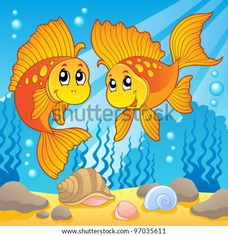 Two cute goldfishes - vector illustration. - stock vector