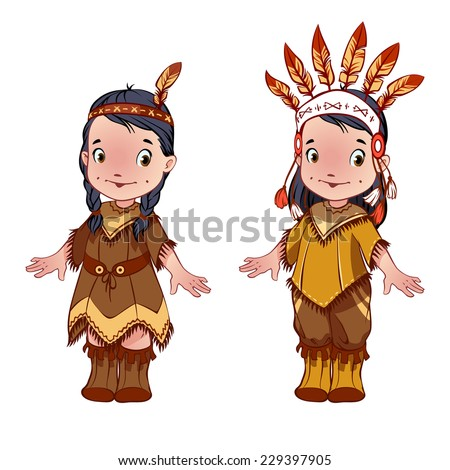 Two cute kids dressed as Indians for Thanksgiving day. Cartoon characters. Vector clip-art illustration on a white background. - stock vector