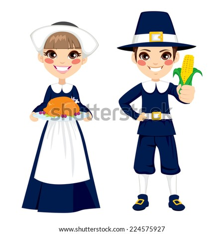 Two cute little children in pilgrim costume holding turkey and corn to celebrate Thanksgiving day  sc 1 st  Shutterstock & Two Cute Little Children Pilgrim Costume Stock Vector 224575927 ...