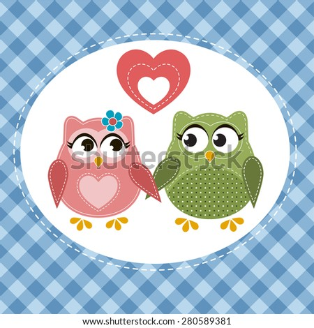 Two cute owls in love - stock vector