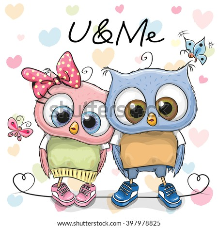 Two Cute Owls on a hearts background - stock vector
