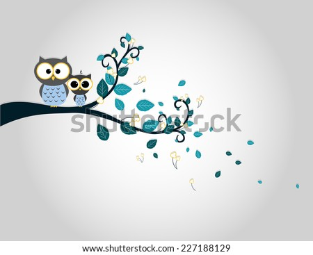 Two cute owls on a tree branch silhouette - stock vector