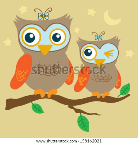 Two cute owls sitting on a tree - stock vector