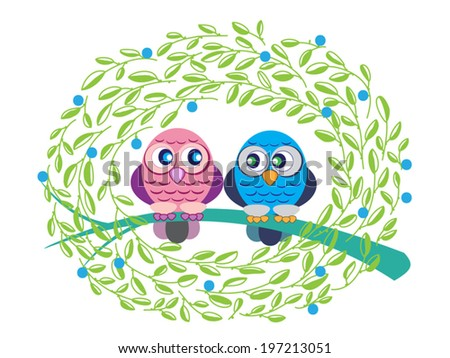 Two cute owls sitting on branch in frame of green leaf. Cartoon vector illustration, isolated. May be used for a print, invitation, or whatever you like.