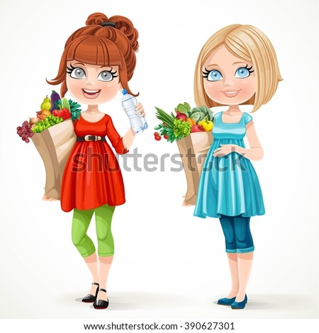 Two cute pregnant women in red and blue with paper bags fresh fruits and vegetables isolated on white background - stock vector