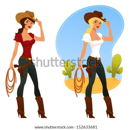 two cute rodeo girls with lasso and cowboy hat - stock vector