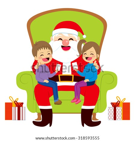 Two cute siblings kids sitting on old Santa Claus lap giving him letters with Christmas wishes - stock vector