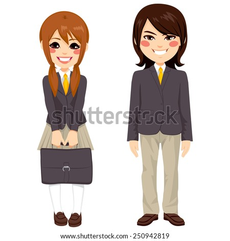 Two cute teenage japanese students standing together in uniform and holding suitcase - stock vector