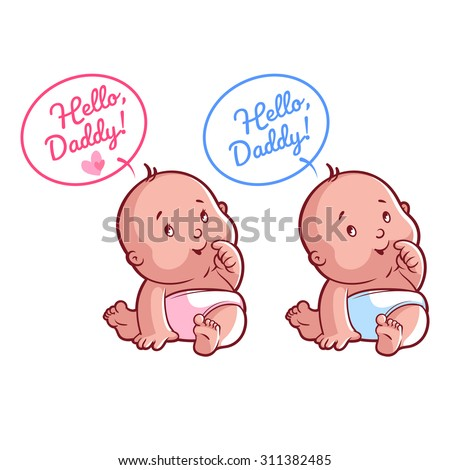Two cute toddler in diaper. Card for Dad: Hello, Daddy! Vector illustration on a white background. - stock vector