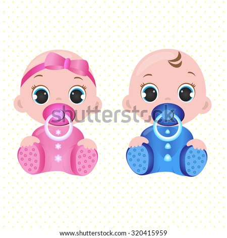Two cute twin babies, a baby girl and a baby boy - stock vector