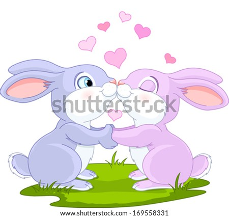Two cute Valentine Bunnies holding hands - stock vector