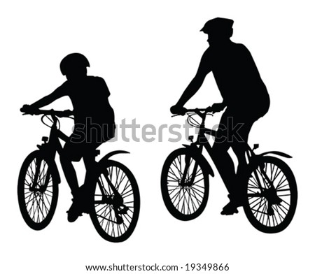two cyclist vector silhouette isolated over white background