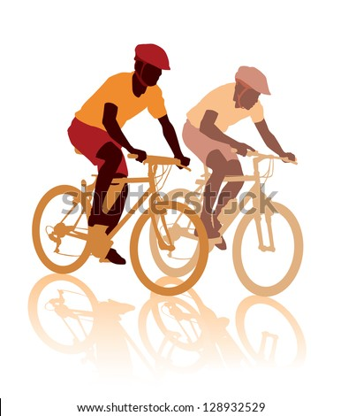 Two cyclists in the bicycle race. Sport illustration.