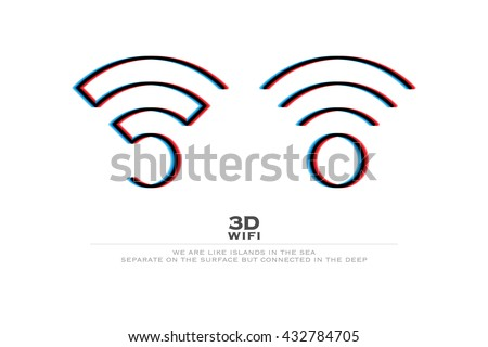 two 3d illusion wireless icons and wifi logo. vector radio wave stereoscopic symbol. free internet connection zone, wifi sign. anaglyph technology concept logotype. three-dimensional distortion wi-fi - stock vector