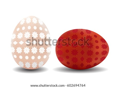Two 3d Isolated Vector Realistic Brown And White Easter Eggs With Pattern On Background