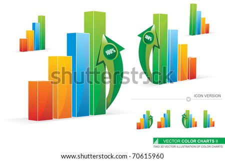 Two 3D Vector Illustration Of Color Charts - stock vector