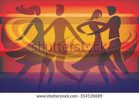 Two Dancing couples. Colorful background with silhouettes of dancing couples. Vector available.  - stock vector