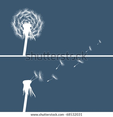 two dandelion buds silhouette on blue background vector - stock vector