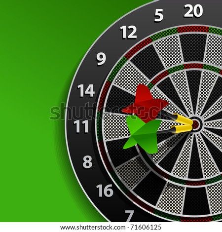 Two darts in aim - stock vector